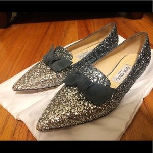 Jimmy Choo Gala Bow Glitter Pointy Toe Flats6.5/37